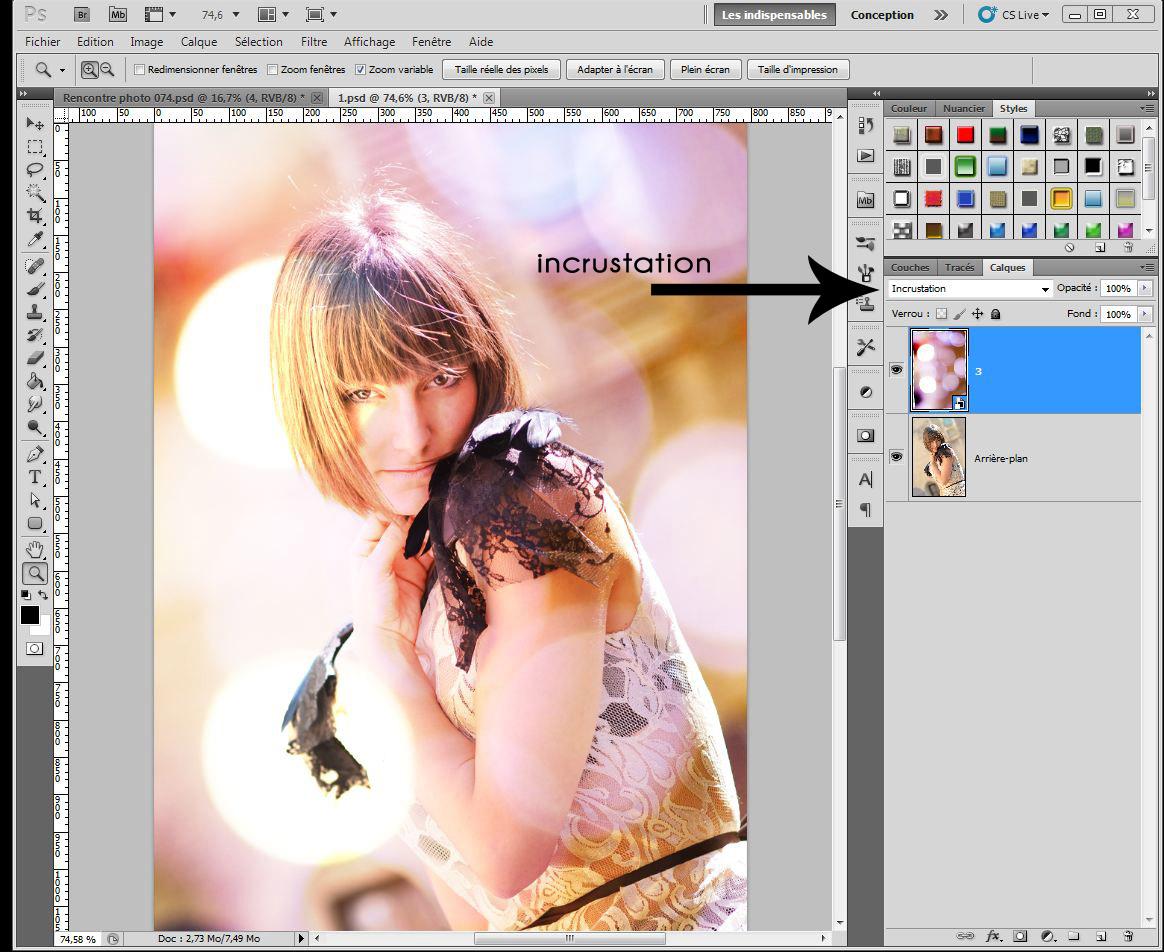 Technique photoshop texture bokeh et mode de fusion for Effet miroir photoshop cs5